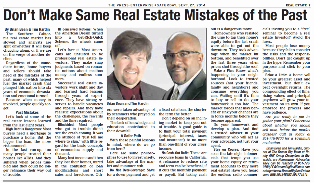 Don't Make the Same Real Estate Mistakes of the Past | Selling a Home in Riverside Calif | Refinancing Dangers | Brian Bean and Tim Hardin Dream Big Realty ONE Group